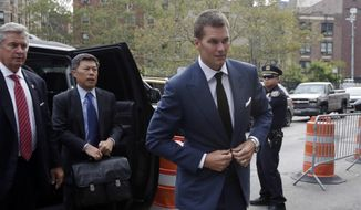 New England Patriots quarterback Tom Brady arrives at Federal court in New York,  Monday, Aug. 31, 2015. AP Photo/Richard Drew)