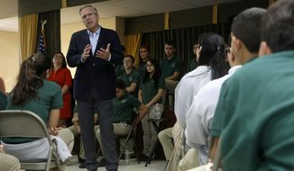 Republican presidential candidate and former Florida Gov. Jeb Bush responds to a question from a student during a town hall at La Progresiva Presbyterian School in Miami on Sept. 1, 2015. (Associated Press) **FILE**
