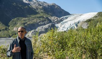 President Barack Obama speaks to members of the media while on a hike to the Exit Glacier in Seward, Alaska, Tuesday, Sept. 1, 2015, which according to National Park Service research, has retreated approximately 1.25 miles over the past 200 years. (AP Photo/Andrew Harnik) ** FILE **