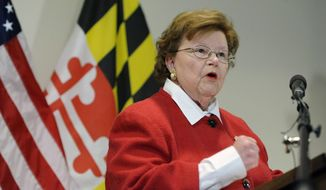 Sen. Barbara Mikulski, D-Md., the longest-serving woman in the history of Congress, speaks during a news conference in Baltimore. (AP Photo/Steve Ruark)