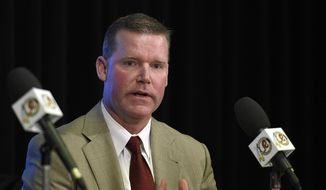 "FILE - In this Jan. 9, 2015, file photo, Washington Redskins general manager Scot McCloughan speaks during a news conference with the NFL football team, in Ashburn, Va. McCloughan's wife, Jessica McCloughan, has apologized for ""disparaging"" and ""unfounded"" comments on her Twitter account about an ESPN reporter. The Redskins issued a statement on behalf of Jessica McCloughan on Wednesday night, Sept. 2, in which she acknowledged making the remarks, which said the reporter exchanged sexual favors for information. (AP Photo/Nick Wass, File)"