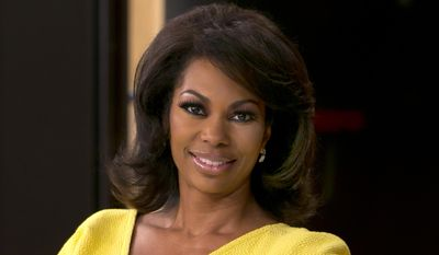 "Fox News anchor Harris Faulkner poses for a photo on the set in New York in this April 28, 2015, file photo. Harris sued toymaker Hasbro Monday, Aug. 31, 2015, in federal court in New Jersey for more than $5 million over a toy that shares her name. Harris' suit claims Hasbro wrongfully appropriated her name and persona with its plastic ""Harris Faulkner"" hamster. (AP Photo/Richard Drew, File)"