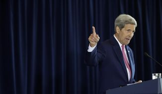 Secretary of State John Kerry delivers a speech in support of the Iran nuclear deal at the National Constitution Center, Wednesday, Sept. 2, 2015, in Philadelphia. (AP Photo/Matt Slocum)