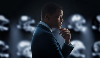 "This image released by Sony Pictures shows the poster art for the film, ""Concussion,"" to be released in U.S. theaters on Christmas Day. (Sony Pictures via AP)"