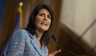 "South Carolina Gov. Nikki Haley delivers a speech on ""Lessons from the New South"" during a luncheon at at the National Press Club in Washington on Sept. 2, 2015. (Associated Press)"
