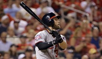 Washington Nationals' Bryce Harper watches his sacrifice fly that scored Anthony Rendon during the third inning of a baseball game against the St. Louis Cardinals on Tuesday, Sept. 1, 2015, in St. Louis. (AP Photo/Jeff Roberson)