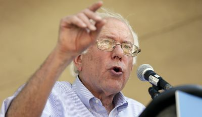 Sen. Bernie Sanders, Vermont independent and Democratic presidential candidate, speaks during a town hall meeting in Grinnell, Iowa, on Sept. 3, 2015. (Associated Press) **FILE**