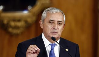 This Aug. 31, 2015, file photo shows Guatemala's President Otto Perez Molina speaking during a press conference, in Guatemala City. A president's spokesman says Molina has resigned in the face of a fraud scandal. (AP Photo/Moises Castillo, File)