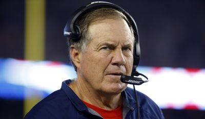 New England Patriots head coach Bill Belichick watches action from the sideline in the first half of an NFL football game against the New York Giants Thursday, Sept. 3, 2015, in Foxborough, Mass. (AP Photo/Winslow Townson)