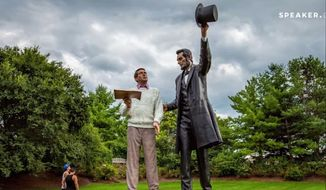 "Hose Speaker John Boehner says modern-day citizen in ""Return Visit,"" a 30-foot tall statue in Gettysburg, bears a strange resemblance to himself. (image: Youtube)"