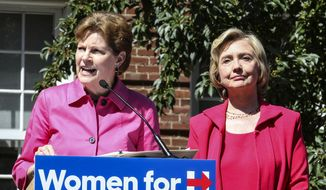 Democratic presidential candidate, Hillary Rodham Clinton, right, is endorsed by Sen. Jeanne Shaheen, D-N.H., left, during the kick-off event for New Hampshire Women for Hillary in Portsmouth, N.H.,  Saturday, Sept. 5, 2015. (AP Photo/Cheryl Senter)