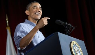President Barack Obama speaks at the Greater Boston Labor Council Labor Day Breakfast, Monday, Sept. 7, 2015, in Boson. Obama will sign an Executive Order requiring federal contractors to offer their employees up to seven days of paid sick leave per year. (AP Photo/Andrew Harnik)