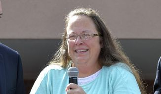 Rowan County Clerk Kim Davis speaks after being released from the Carter County Detention Center, Tuesday, Sept. 8, 2015, in Grayson, Ky. Davis, the Kentucky county clerk who was jailed for refusing to issue marriage licenses to gay couples, was released Tuesday after five days behind bars. (AP Photo/Timothy D. Easley) ** FILE **