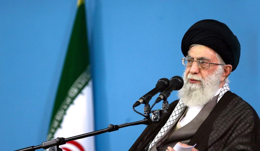 In this picture released by the official website of the office of the Iranian supreme leader, Supreme Leader Ayatollah Ali Khamenei delivers a speech during a meeting in Tehran, Wednesday, Sept. 9, 2015.  (Office of the Iranian Supreme Leader via AP)