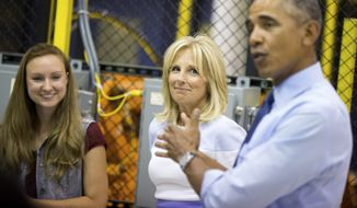 President Barack Obama, accompanied by Jill Biden, second from right, tours Michigan Technical Education Center at Macomb Community College, Wednesday, Sept. 9, 2015, in Warren, Mich. Obama will also announce new steps to expand apprenticeships and push to make community college free for responsible students. Also pictured is student Natalie Heacock, left, who is getting training in advanced integrated manufacturing, automated systems and robotics. (AP Photo/Andrew Harnik)