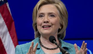 Democratic presidential candidate Hillary Rodham Clinton speaks at the Brookings Institution in Washington on Sept. 9, 2015. (Associated Press) **FILE**