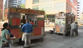 A New York City Police Department proposal would push the hot-dog vendors surrounding the World Trade Center further away from the site out of fears that the stands could pose a future terror threat. (NBC New York)
