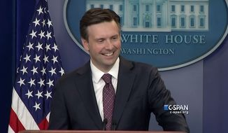 Apple's Siri gave the White House press room a laugh Thursday afternoon when the virtual voice interrupted a reporter's question on the Iran deal. (C-Span) ** FILE **