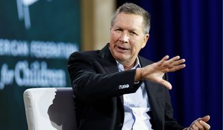 Republican presidential candidate, Ohio Gov. John Kasich, speaks during an education summit, Wednesday, Aug. 19, 2015, in Londonderry, N.H. (AP Photo/Jim Cole) ** FILE **