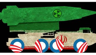 Illustration on Obama's facilitation of Iran's nuclear arms program by Alexander Hunter/The Washington Times