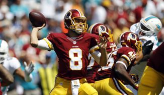 Washington Redskins quarterback Kirk Cousins (8) looks to pass during an NFL football game against the Miami Dolphins, Sunday, Sept. 13, 2015, in Landover, Md. (AP Photo/Patrick Semansky)