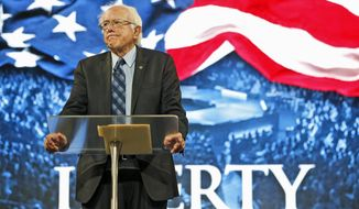 Democratic presidential candidate, Sen. Bernie Sanders, I-Vt. looks over the crowd during a speech at Liberty University in Lynchburg, Va., Monday, Sept. 14, 2015. (AP Photo/Steve Helber) **  FILE **