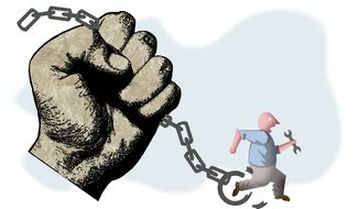 Illustration on the need for union reform by Alexander Hunter/The Washington Times
