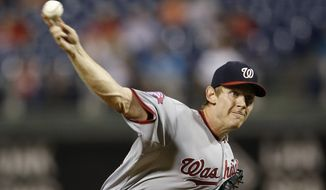 Washington Nationals' Stephen Strasburg pitches during the second inning of a baseball game against the Philadelphia Phillies, Tuesday, Sept. 15, 2015, in Philadelphia. (AP Photo/Matt Slocum)