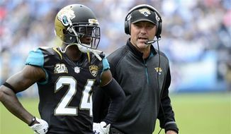 Jacksonville Jaguars head coach Gus Bradley talks to cornerback Will Blackmon (24) in the fourth quarter of an NFL football game against the Tennessee Titans Sunday, Oct. 12, 2014, in Nashville, Tenn. (AP Photo/Mark Zaleski)