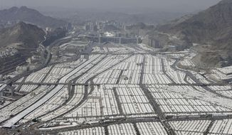 This aerial image made from a helicopter shows thousands of tents housing Muslim pilgrims crowded together in Mina, during the annual Hajj in the Saudi holy city of Mecca, Saudi Arabia, on Oct. 27, 2012. (Associated Press) **FILE**