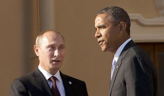 Some security analysts say Russia's influence in Syria is the latest example of President Obama's inability to confront Vladimir Putin, who has refused to back down from military aggression in Ukraine despite harsh economic sanctions coordinated by the U.S. and its European allies. (Associated Press) ** FILE **