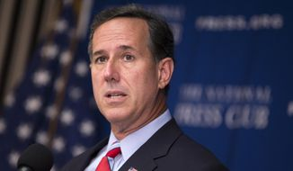 Republican presidential candidate, former Pennsylvania Sen. Rick Santorum speaks at the National Press Club in Washington, in this Aug. 20, 2015, file photo. (AP Photo/Evan Vucci, File)