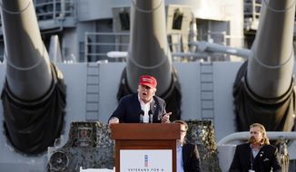 Republican presidential candidate Donald Trump speaks during a campaign event aboard the retired ship USS Iowa in Los Angeles on Tuesday, Sept. 15, 2015. (AP Photo/Kevork Djansezian)