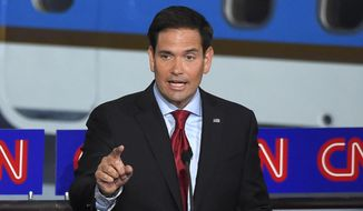 Republican presidential candidate, Sen. Marco Rubio, R-Fla., speaks during the CNN Republican presidential debate at the Ronald Reagan Presidential Library and Museum on Wednesday, Sept. 16, 2015, in Simi Valley, Calif. (AP Photo/Mark J. Terrill) ** FILE **