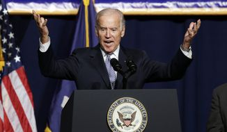 Vice President Joe Biden speaks during a labor rally in New York on Sept. 10, 2015. (Associated Press) **FILE**