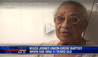 Genora Ham Biggs, a 103-year-old Georgia woman, was kicked out of her lifelong church following a disagreement with her pastor over his preaching style. (Screen grab of video from Fox 5 Atlanta)
