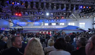 The audience prepares for the start of the CNN Republican presidential debate at the Ronald Reagan Presidential Library and Museum on Wednesday in Simi Valley, Calif. (Associated Press)