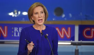 Carly Fiorina's calm and firm grasp of policy, her coy counterattacks on Donald Trump and her forceful presentation of specific ideas made a clear case she belongs on the main stage going forward. (Associated Press)