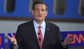 Republican presidential candidate, Sen. Ted Cruz, R-Texas, speaks during the CNN Republican presidential debate at the Ronald Reagan Presidential Library and Museum on Wednesday, Sept. 16, 2015, in Simi Valley, Calif. (AP Photo/Mark J. Terrill) ** FILE **