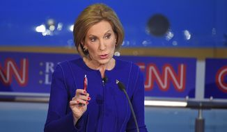 Republican presidential candidate, businesswoman Carly Fiorina, makes a point during the CNN Republican presidential debate at the Ronald Reagan Presidential Library and Museum on Wednesday, Sept. 16, 2015, in Simi Valley, Calif. (AP Photo/Mark J. Terrill)
