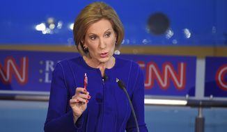 """""""Carly Fiorina is the one Republican Hillary Clinton hopes she never has to face, because Carly Fiorina can take on Hillary Clinton in ways that the men in gray suits and red ties can't,"""" said Charlie Gerow, a GOP strategist who is advising Ms. Fiorina. (Associated Press)"""