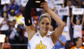 Chicago Sky forward Elena Delle Donne holds the MVP trophy before the Game 1 of the WNBA basketball Eastern Conference semifinals between the Sky and the Indiana Fever, Thursday, Sept. 17, 2015, in Chicago. (AP Photo/Kamil Krzaczynski) **FILE**