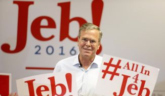 Republican presidential candidate, former Florida Gov. Jeb Bush speaks during a campaign rally on Thursday, Sept. 17, 2015, in Las Vegas. (AP Photo/Isaac Brekken) ** FILE **
