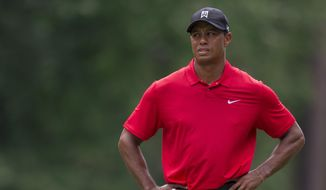 FILE - In this Sunday, Aug. 23, 2015, file photo, Tiger Woods pauses on the fifth hole during the final round of the Wyndham Championship golf tournament at Sedgefield Country Club in Greensboro, N.C. Woods announced he underwent a second microdiscectomy surgery on his back on Wednesday, Sept. 16. (AP Photo/Rob Brown, File)