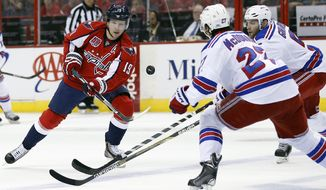 Washington Capitals center Nicklas Backstrom (19), from Sweden, flips the puck past New York Rangers defensemen Ryan McDonagh (27) and Dan Girardi (5) during the first period of Game 6 in the second round of the NHL Stanley Cup hockey playoffs, Sunday, May 10, 2015, in Washington. (AP Photo/Alex Brandon)