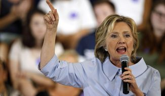 Democratic presidential candidate Hillary Rodham Clinton speaks at a campaign organizing meeting, Friday, Sept. 18, 2015, in Portland, Maine. (AP Photo/Robert F. Bukaty)