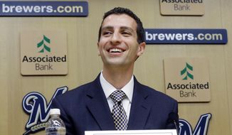 David Stearns speaks during a news conference Monday, Sept. 21, 2015, in Milwaukee. Stearns was introduced as the Milwaukee Brewers' new general manager. (AP Photo/Morry Gash)