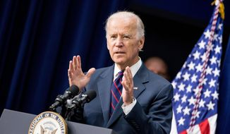 Vice President Joe Biden speaks at a White House Champions of Change Law Enforcement and Youth meeting in the South Court Auditorium of the Eisenhower Executive Office Building on the White House complex in Washington on Sept. 21, 2015. (Associated Press) **FILE**