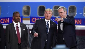 In this photo taken Wednesday, Sept. 16, 2015, Republican presidential candidates, from left, Ben Carson, Donald Trump, and former Florida Gov. Jeb Bush chat during the CNN Republican presidential debate at the Ronald Reagan Presidential Library and Museum in Simi Valley, Calif.  (AP Photo/Mark J. Terrill) ** FILE **