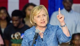 Democratic presidential candidate Hillary Rodham Clinton speaks at a grassroots organizing meeting at Philander Smith College Monday, Sept. 21, 2015, in Little Rock, Ark. (AP Photo/Gareth Patterson) ** FILE **